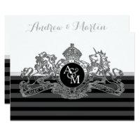 Black Silver White Lion Unicorn Emblem Wedding Card