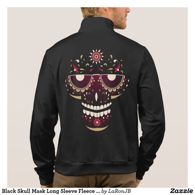 Black Skull Mask Long Sleeve Fleece Jogger Jacket