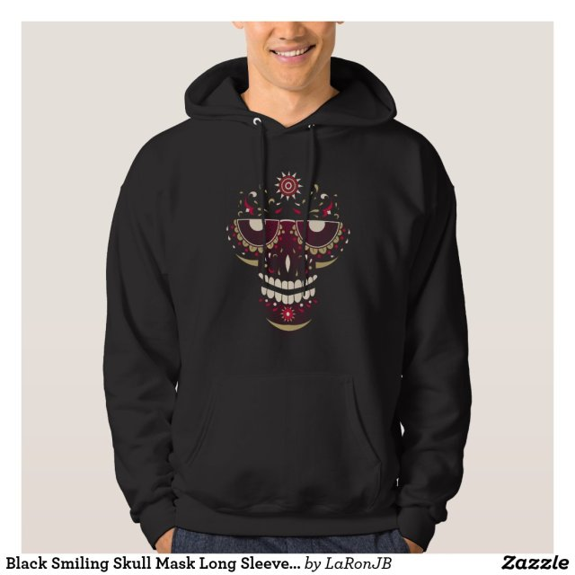 Black Smiling Skull Mask Long Sleeve Sweatshirt