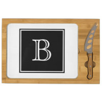 Black Square Monogram Cheese Board Rectangular Cheeseboard