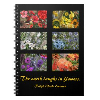 Black Stained Glass Window Flower Garden Notebooks