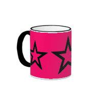 Black Stars on Pink - Mug on Zazzle