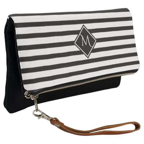 Black Stripe Geometric Monogram Clutch