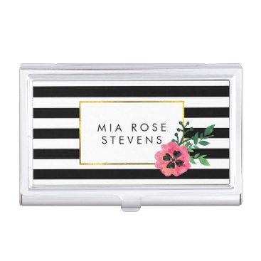 Black Stripe & Pink Floral Business Card Holder