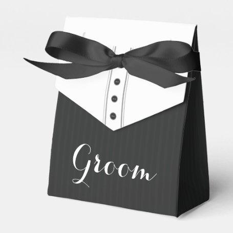 Personalized Black Tux Wedding Favor Boxes Eatlovepray