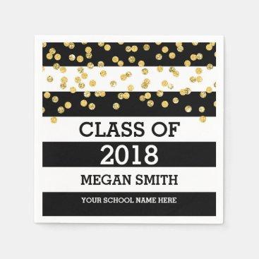 Black Stripes Gold Dots Class of 2018 Graduation Napkins