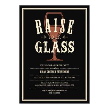 Black Vintage Raise Your Glass Party Invitations