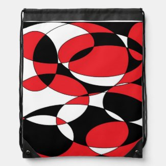 Black, white and red elliptical backpack
