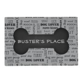 Black White Bone Custom Name Dog | Pet Placemat Laminated Placemat