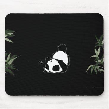 Black & White Chinese Panda - Black Mouse Pad