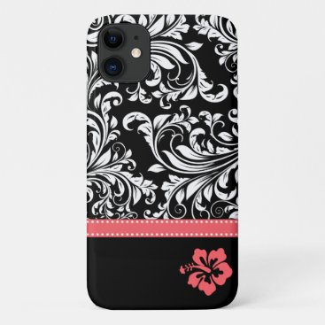 Black & White Damask with Coral Hibiscus flower iPhone 11 Case