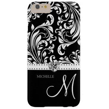 Black & White Damask with Diamond Heart & Monogram Barely There iPhone 6 Plus Case