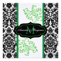 Black, White, Green Damask Scroll Wedding Invite
