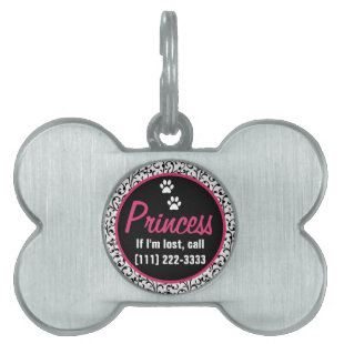 Black White Hot Pink Floral Pet Tag Bone Shape
