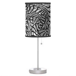Black White Mix Modern Zen-tangle Style Patterned Desk Lamps