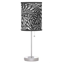Black White Mix Modern Zen-tangle Style Patterned Desk Lamps