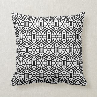 Black & White Optical Hexagon Design Throw Pillow