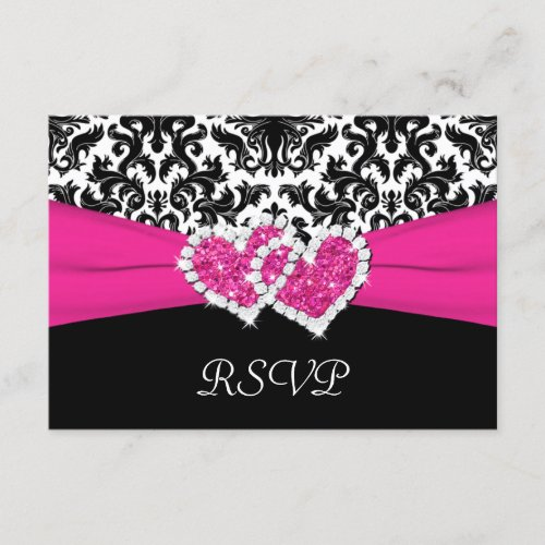 Black, White, Pink Damask & Hearts Reply Card