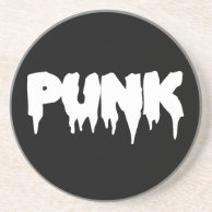 Black and White Punk Drip drippy Font Coaster