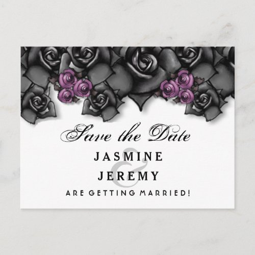 Black White Purple Roses Halloween Save Date Announcement Postcard