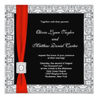 Elegant Damask Red And Black Wedding Invitations Ewi020