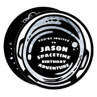 Black White Space Astronaut Birthday Invitations