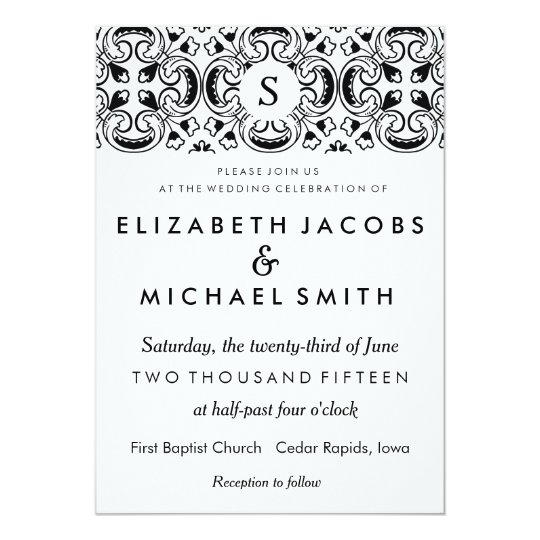 Black White Spanish Tile Wedding Invitation