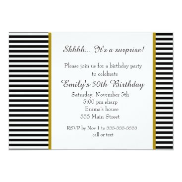 Black White Stripes Adult Birthday Invitation