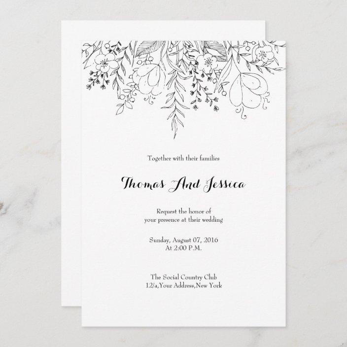 black white wedding invitation card zazzle com
