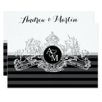 Black & White White Lion Unicorn Emblem Wedding Card