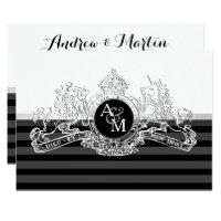 Black & White White Lion Unicorn Emblem Wedding Card
