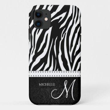 Black & White Zebra stripes with Black damask iPhone 11 Case