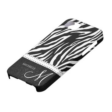 Black & White Zebra stripes with Black damask iPhone SE/5/5s Case