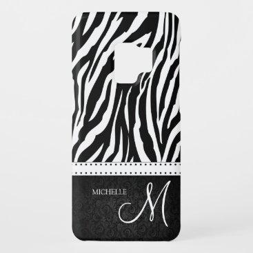 Black & White Zebra stripes with Black damask Case-Mate Samsung Galaxy S9 Case