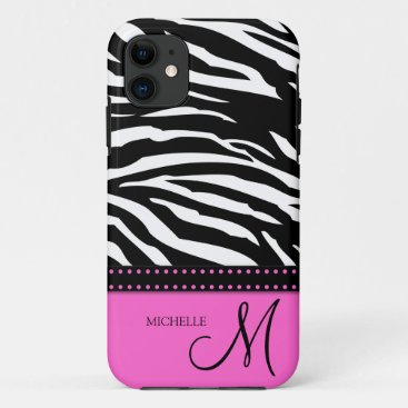 Black & White Zebra stripes with hot pink iPhone 11 Case