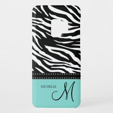 Black & White Zebra stripes with teal blue Case-Mate Samsung Galaxy S9 Case