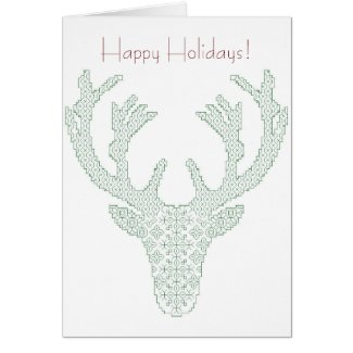 Blackwork Deer Head Holiday Greeting Card