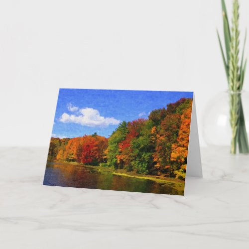Blank Autumn Landscape Scene Greeting Card