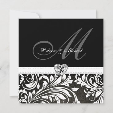 Blank Black and White Damask Monogram Invitations