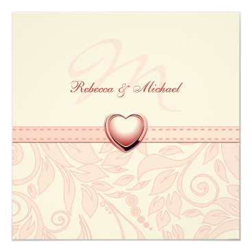 Blank Elegant Pink Monogram Wedding Invitess Invitation