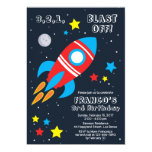 Red Blast Off Rocket Ship Birthday Invitation