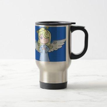 Blond Cartoon Angel Travel Mug