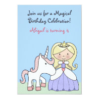 Blond Princess and Unicorn Birthday Invitation