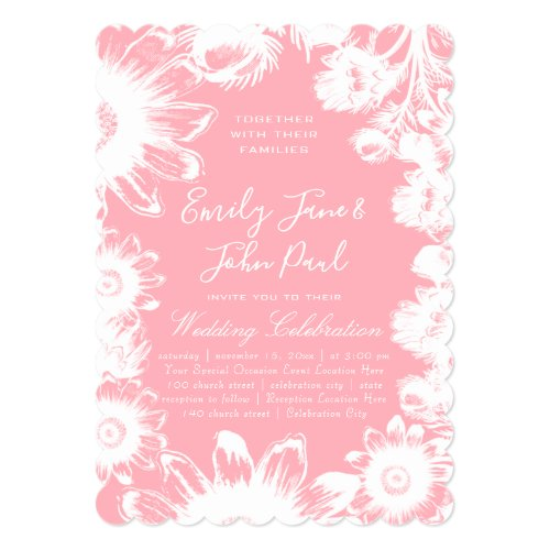 Blooming Blush Pink Floral Wedding Invitations