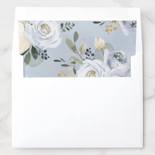 Blooming botanical dusty blue watercolor floral envelope liner