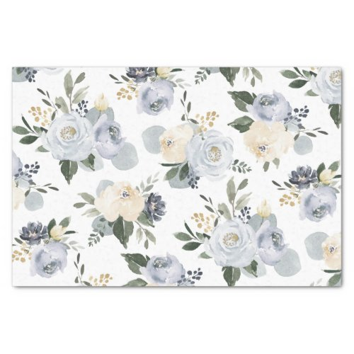 Blooming botanical dusty blue watercolor floral tissue paper