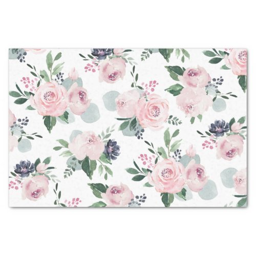 Blooming botanical pink watercolor floral tissue paper