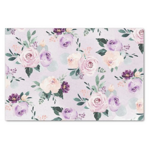 Blooming botanical purple watercolor floral tissue paper
