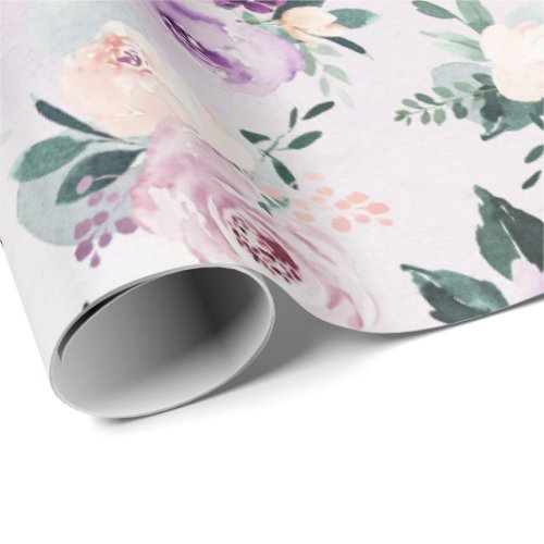 Blooming botanical purple watercolor floral wrapping paper