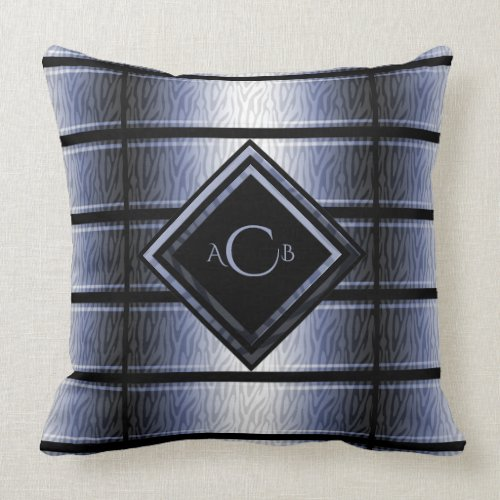 Blue and Black Zebra Monogram Pillow
